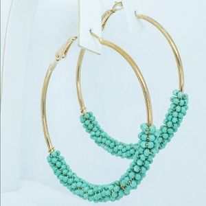 Gold and Mint Green 2 Inch Beaded Hoops